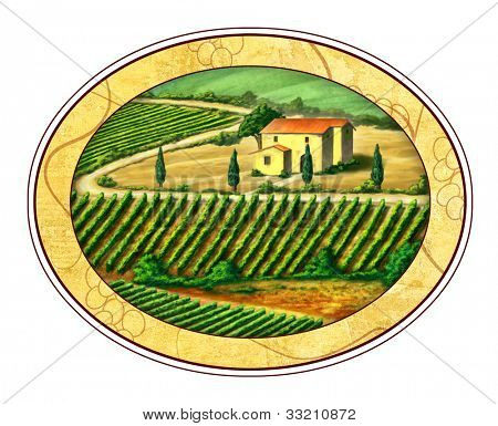 Beautiful vineyards landscape in an elliptical label.Digital illustration.