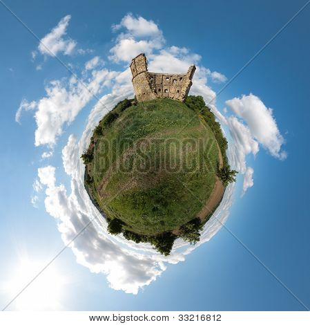 Little Planet With Old Ruin