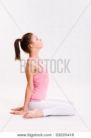 Attarctive Young Yoga Fitness Girl.