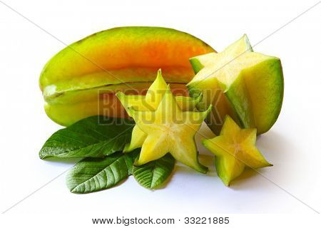 Karambola (star fruit) with slices and leaves isolated on a white background