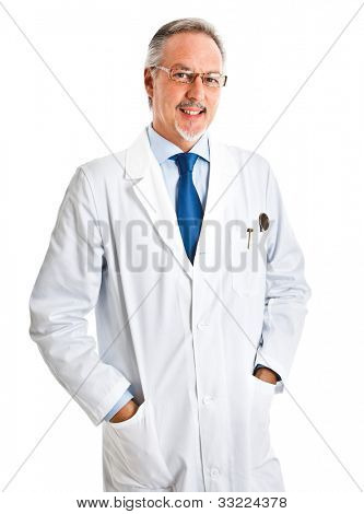 Portrait of a friendly scientist smiling. Isolated on white