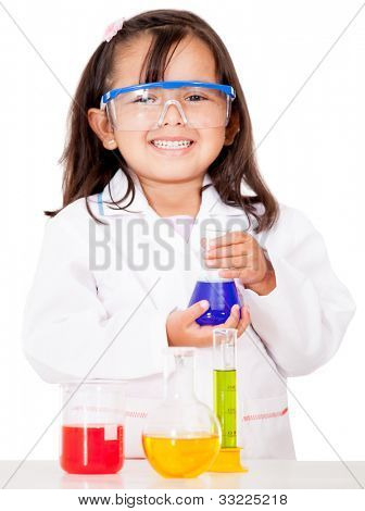 Girl doing chemical experiments at the lab - isolated over white