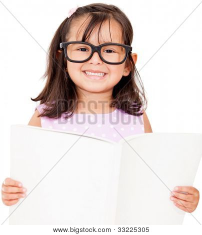 Girl student reading book - isolated over a white background