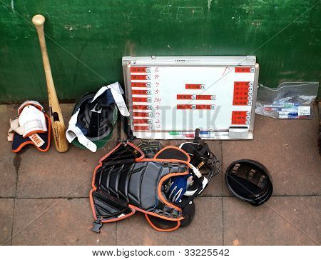 A Peak Into The Dugout During A Baseball Game