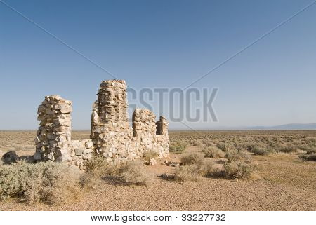 Rock Structure Ruins, Mojave Desert California.
