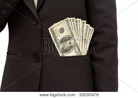 Dollar Bills U.s. In Suit Pocket.