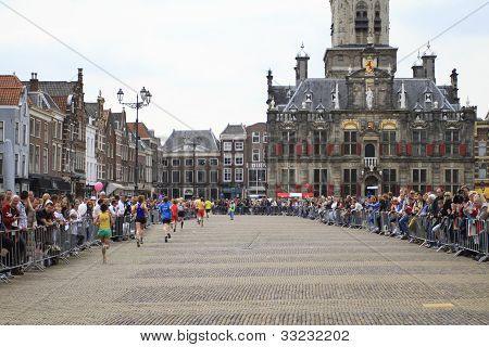 Runners In The Market Square In Delft