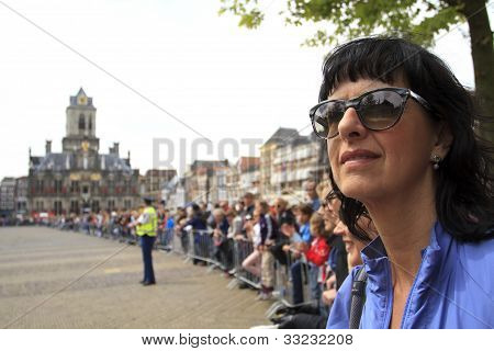 Spectators Waiting In Anticipation On The Market Square In Delft