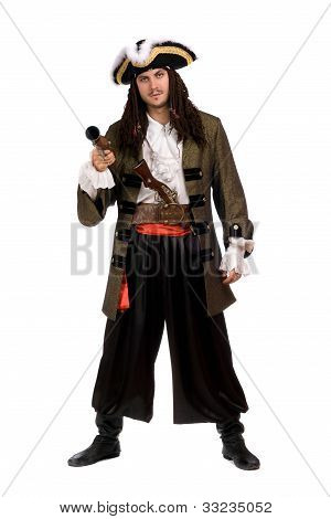 Young Man In A Pirate Costume With Pistol