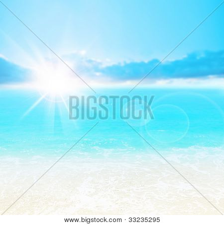 Blue beach background, peaceful summer landscape, beautiful nature abstract card, bright sun shining and calm sea, deep ocean water, vacation and travel