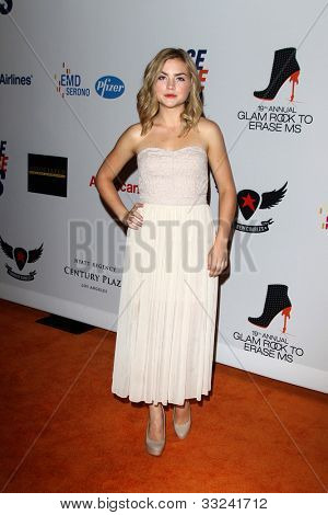 LOS ANGELES - MAY 18:  Maddie Hasson arrives at the 19th Annual Race to Erase MS gala at Century Plaza Hotel on May 18, 2012 in Century City, CA