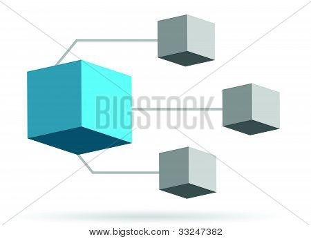 3d box diagram illustration design over white background