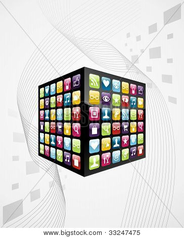 Global Mobile Phone Apps Icons Cube