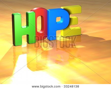 Word Hope On Yellow Background