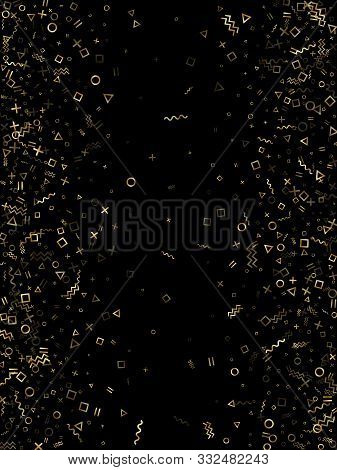 poster of Gold Geometric Confetti Vector Memphis Style Background With Triangle, Circle, Square Shapes, Chevro