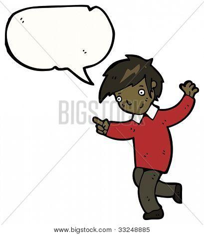 cartoon school boy pointing