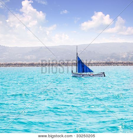 latin sail llaut boat a traditional Mediterranean sailboat in the past