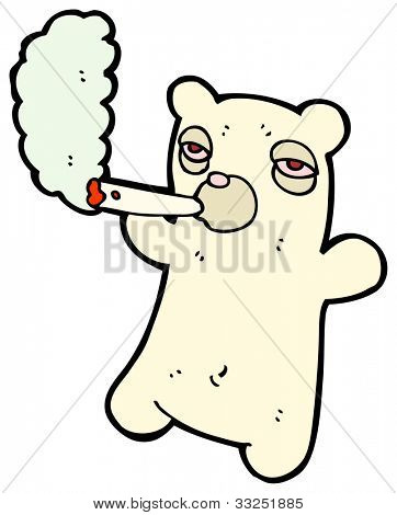cartoon teddy bear smoking weed