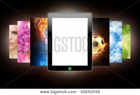 tablet pc on the dark background