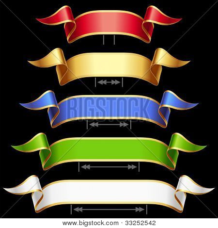 Ribbon set with adjusting length. Vector red, golden, blue, green and white frame isolated on background