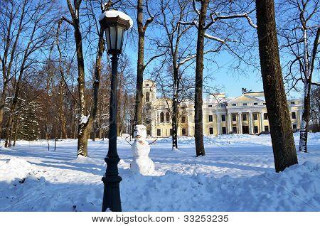 Verkiai Park Palace In Vilnius Lithuania.  Snowman