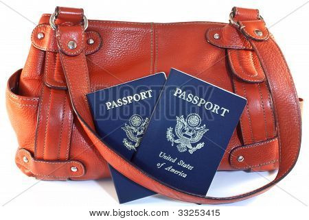 Passports With Orange Purse