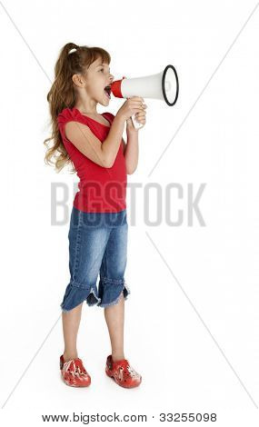 Full length studio photo of little girl shouting into megaphone, isolated on white.