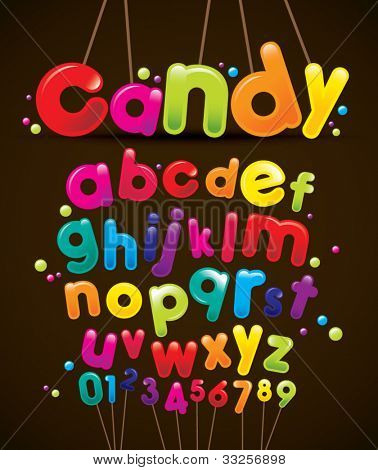 vector of stylized candy-like alphabets