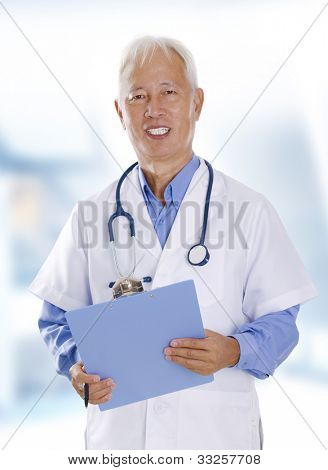 Asian senior male doctor portrait in hospital