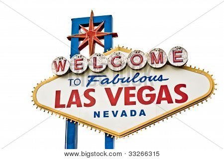 Las Vegas Welcome sign isolated on white