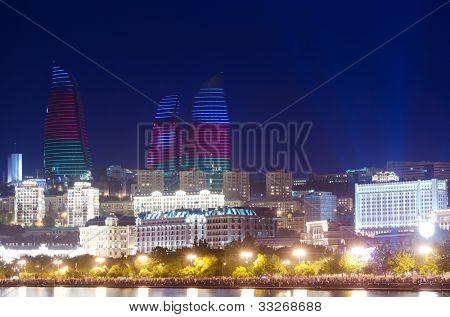 Baku Azerbaijan at Caspian sea-  night photo