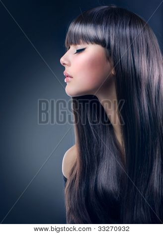 Fashion Brunette Girl. Healthy Long Hair, Haircut