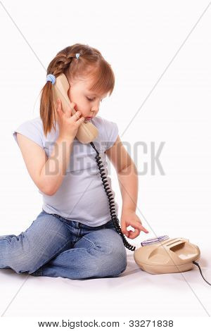 Pretty Little Girl Dials The Number On The Old Phone