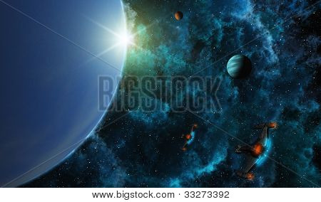 Starships In Deep Space