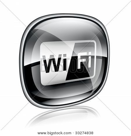 Wi-fi Icon Black Glass On White Background