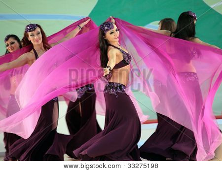 MOSCOW, RUSSIA - MAY 2: Unidentified girls dance during IX World Dance Olympiad in Moscow, Russia at May 2, 2012