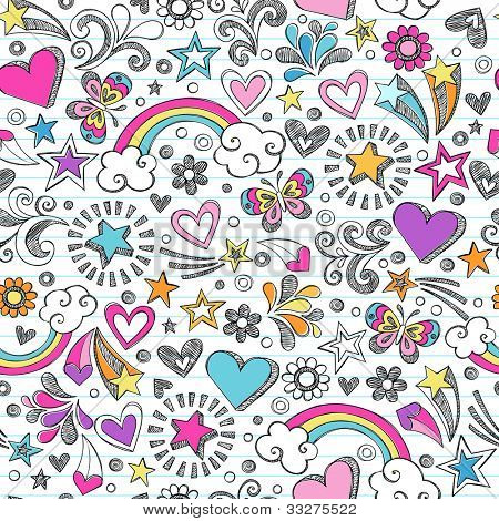 Seamless Pattern Rainbow Doodles- Back to School Sketchy Notebook Design- Hand-Drawn Vector Illustration Background