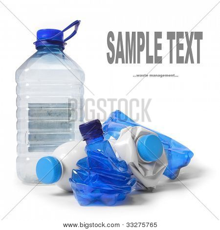 Group of a empty plastic bottles. Waste management concept.