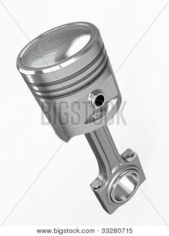 Piston and conrod on white isolated background. 3d