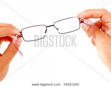 Hands holding glasses - isolated over a white background