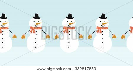 poster of Snowman Seamless Vector Border. Cute Snowmen Standing In A Horizontal Row. Winter Holidays Repeating