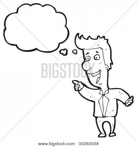 Karikatur Mann zeigen