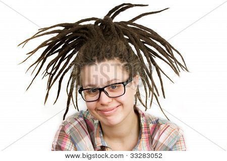 Young Woman With Dreadlocks Wearing Glasses