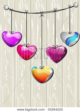 Sparkling colorful heart shapes hanging om wooden background, can be use as flyer, banner, icon, sticker and tag. EPS 10. Vector illustration.