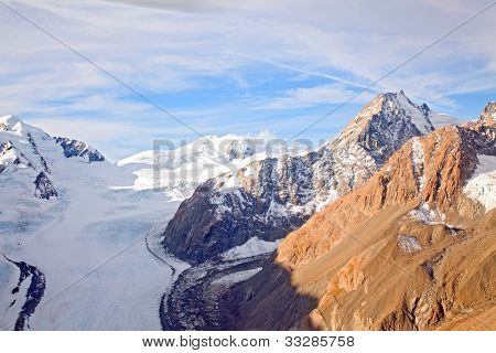 Aerial View of Mountain Cook National Park with Fanz Josef Glacier Landscape New Zealand
