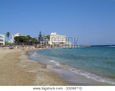A general view of the beach in Famagusta in the Turkish Republic of Northern Cyprus.
