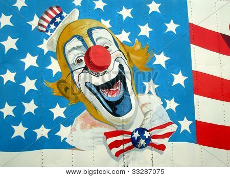 Painting of Uncle Sam on American Stars and Stripes flag.