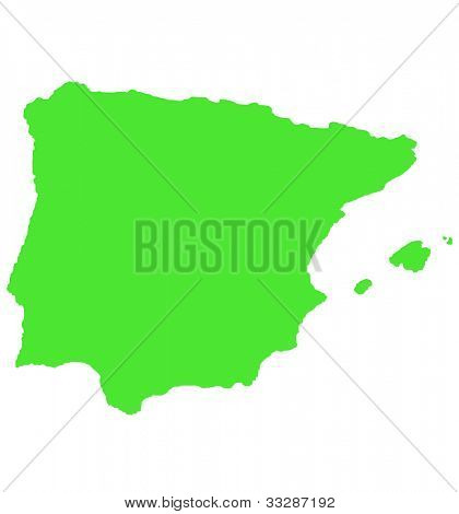 Outline map of Spain and Balearic islands isolated on white background.