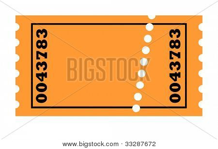 Perforated ticket isolated on white background with copy space.