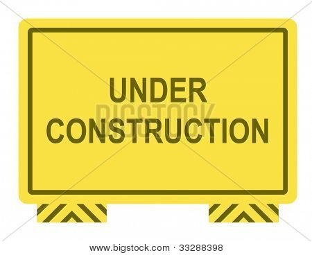 Yellow under construction sign isolated on white background with copy space.
